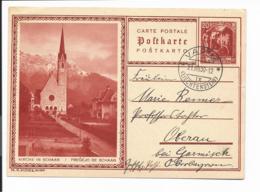 Liechtenstein P 10-02  -  20 Rp  Bildpostkarte Schaan Von Vaduz Nach Oberau/Garmisch Gelaufen - Ganzsachen