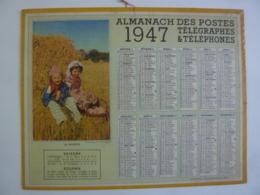 ALMANACH 1947  CALENDRIER  DES POSTES   Photo  La Moisson  Metropolitain , Plan Paris  Imp Berthur, Rennes Chem 3-9 - Calendriers