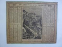 ALMANACH 1893 CALENDRIER  DES POSTES ALLEGORIE Vue CHATEAUDUN  Feuillets Organisation Et Notions Generales-  Chem 3-12 - Calendriers