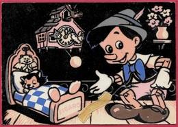CPA Post Card PINOCCHIO & FIGARO (flocage Velours Noir) ° Copyright Walt DISNEY 1963 Ets Carrere Perpignan - Disney