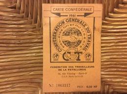 CARTE CONFEDERALE CONFÉDÉRATION GÉNÉRALE DU TRAVAIL CGT Fédération Des Travailleurs De La Métallurgie  BRÉGUET  1961 - Documents Historiques