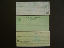 BRAZIL BRASIL  - 3 CHECKS OF BANKS YEARS 1960/70 (?) - Chèques & Chèques De Voyage
