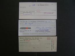 BRAZIL BRASIL  - 3 CHECKS OF BANKS YEARS 1960/80 (?) - Chèques & Chèques De Voyage