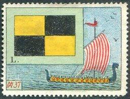 VIKING SHIP Drakkar Wikinger Schiff Boat Bateau Boot Maritime Signal Flag L Vignette Poster Reklamemarke - Bateaux