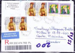 POLAND 2018 REGISTERED COVER TO ECUADOR CHRISTMAS PAIR + VIRGIN & KONFEDERASKA BARSKA X 4 - 1944-.... Republik