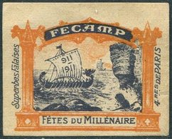 France 1911 Fécamp Fêtes Du Millénaire VIKING SHIP Drakkar Bateau Wikinger-Schiff Boat Boot Poster Vignette Reklamemarke - Bateaux