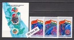 1984 Space Interkosmos  Indien/USSR (5371/73+ Bl.172) 3v.+S/S-MNH USSR - 1923-1991 URSS