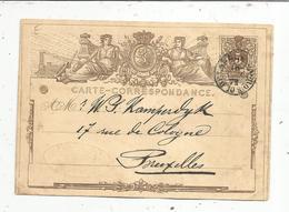 Sur Carte Correspondance, Entier Postal , 1872 , Belgique , BRUXELLES NORD, Vins D'Algérie Giraud ,F. Cooreman, 3 Scans - Ganzsachen