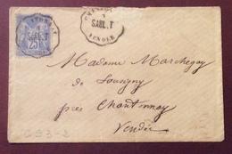 CS3-2 Convoyeur Station Sabl.T Chantonnay Vendée Sage 25c 3/8/1877 - Postmark Collection (Covers)