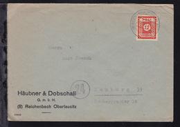 Ziffer 12 Pfg. Auf Firmenbrief (Häubner & Dobschall, Reichenbach Oberlausitz)  - Zone Soviétique