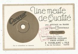 Buvard , CORAZUR , Meule De Qualité ,E. Toublanc & Fils ,NANTES , Frais Fr 1.65 E - Non Classés