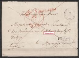 """L. Datée 18 Décembre 1838 De CORTEMARCQ Pour BRUGGE - Griffe """"FRANCO"""" Par Distribution (RR !) à TORHOUT T18 - """"PORT PAYE - 1830-1849 (Belgique Indépendante)"""