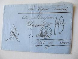 MARQUE POSTALE  Par VAPEUR FRANCAIS   MONTEVIDEO  Vers  ALBI   1870 - Marcophilie (Lettres)
