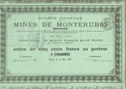 ESPAGNE-MINES DE MONTERUBIO. Action De 1885 - Actions & Titres