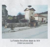 SALMAGNE MEUSE - LA FONTAINE BROUILLOTTE DATANT DE 1834, PAP ENTIER POSTAL, FLAMME NEOPOST 2008, VOIR LES SCANNERS - Monumenti