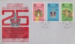 Enveloppe FDC  1er Jour   NOUVELLES  HEBRIDES   Jubilé  D' Argent   De  La  Reine  ELIZABETH II    1977 - FDC