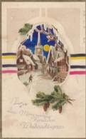 AK - Herzlichen Weihnachtsgruss - Seltene Karte Mit Bunten Scherenschnitt - 1915 - Weihnachten