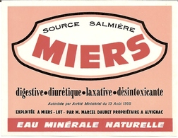 1H3  ---  46 MIERS   Source Salmière Eau Minérale Naturelle - Publicités