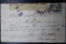 BOER WAR PERIOD  Cover BLOEMFONTEIN -> DEN HELDER HOLLAND Opened Under Martial Law + Censor Cancel 9-12-1901 - África Del Sur (...-1961)