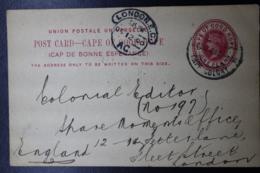 BOER WAR PERIOD  Postcard  CAPETOWN -> LONDON  24-9-1900 - África Del Sur (...-1961)