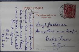 POSTCARD PRETORIA -> ARMY BASE  27-6-1908  BOOM STREET - Zuid-Afrika (...-1961)