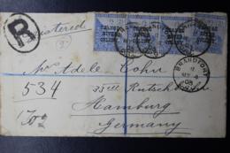 ORANGE RIVER COLONY REGISTERED COVER BRANDFORT -> HAMBURG 4-5-1903 STRIP OF 3 + 1 OF 2,5 P  4-5-1903 - África Del Sur (...-1961)