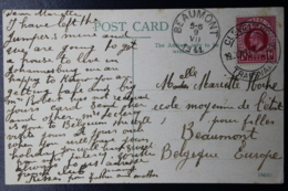 NATAL INTERPROVINCIAL PERIOD CLEVELAND TRANSVAAL -> BEAUMONT BELGIUM 19-6-1911 UNION DAY - Natal (1857-1909)