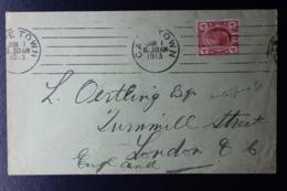TRANSVAAL INTERPROVINCIAL PERIOD CAPE TOWN -> LONDON 1-1-1913 MACHINE CANCEL - Südafrika (...-1961)