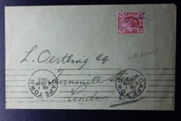 TRANSVAAL INTERPROVINCIAL PERIOD CAPE TOWN -> LONDON 1-1-1913 MISPLACED MACHINE CANCEL - Südafrika (...-1961)