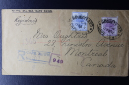 ORANGE FREE STATE INTERPROVINCIAL PERIOD REGISTERED COVER CAPE TOWN -> MONTREAL CANADA 17-2-1911 MIXED FRANKING - África Del Sur (...-1961)