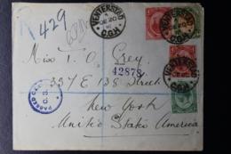 UNION REGISTERED COVER VENTERSTAD -> NEW YORK CENSORED 4-12-1916 - Briefe U. Dokumente