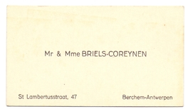 Visitekaartje - Carte Visite - Mr & Mme Briels - Coreynen - Berchem Antwerpen - Cartes De Visite