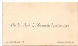 Visitekaartje - Carte Visite - Mr & Mme L. Swinnen - Adriaenssen - Deurne Centrum - Cartes De Visite