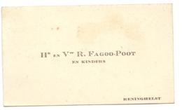 Visitekaartje - Carte Visite - Hr & Vw R. Fagoo - Poot En Kinders - Reningelst - Cartes De Visite