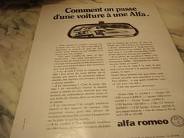 ANCIENNE PUBLICITE COMMENT ON PASSE D UNE VOITURE A UNE ALFA 1968 - Voitures