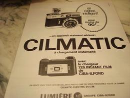 ANCIENNE PUBLICITE APPAREIL PHOTO  CILMATIC DE LUMIERE 1968 - Publicités