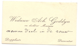 Visitekaartje - Carte Visite - Weduwe Ach. Goddyn - Dranouter - Cartes De Visite