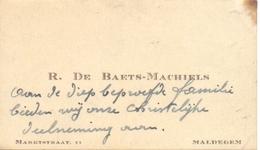Visitekaartje - Carte Visite - R. De Baets - Machiels - Maldegem - Visitenkarten