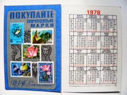 Small Calendar Pocket 1978 Year From Ussr Philately Post Stamps Bird Animals Flowers Fish - Tamaño Pequeño : 1971-80