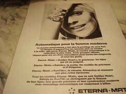ANCIENNE PUBLICITE AUTOMATIQUE POUR LA FEMME MONTRE ETERNA.MATIC 1968 - Publicités
