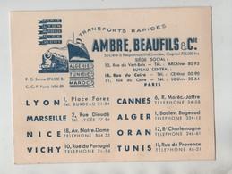 Carte De Visite Transports Rapides Ambre Beaufils Paris Lyon Cannes Marseille Nice Vichy Alger Oran Tunis - Visitenkarten