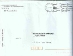 NEC De Paris Brune _ La Poste 38295A - Enveloppe Entière Avec Code FIM FRAS Pour Les Organistions Sydicales - Marcophilie (Lettres)