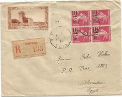 SEMEUSE 1FR40 SURCHARGE 1F10 BLOC DE 4 LETTRE REC VINCENNES 1934 POUR EGYPTE + VIGNETTE LES CABLES D'OLONNE ET DREUX - 1906-38 Sower - Cameo