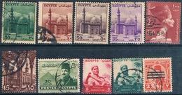 Egipto 1947 / 55  - Yvert 256 + 319 + 321 + 322 + 323 + 331 + 320 A + 367 A 368  ( Usados ) - Egipto