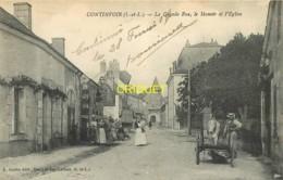 37 Continvoir, Grande Rue, Manoir Et Eglise, Belle Animation, Carte Pas Courante - Frankreich