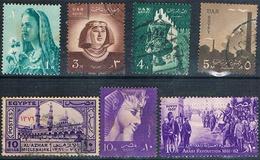 Egipto 1957 / 58  - Yvert 393 + 404 + 405 + 416 A + 420 + 421 + 422  ( Usados ) - Usados