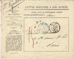 1861- Enveloppe N° 825 C. B.  Lettre Renvoyée à Son Auteur - Taxe 15 Manuscrite Rouge + 2 Cad - Postmark Collection (Covers)
