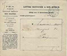 1868- Enveloppe N° 825 Car.  Lettre Renvoyée à Son Auteur -  Cad En  Port Du De Paris 15 C - Postmark Collection (Covers)