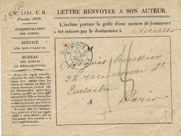 """1839- Enveloppe N° 1131 .C.B. Févrter 1839 """"  Lettre Renvoyée à Son Auteur '-  Cad  RENVOIS  / 6     6  - - 1801-1848: Precursors XIX"""