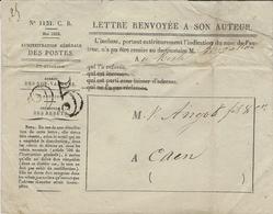 """1852- Enveloppe N° 1131 .C.B. Mai 1852 """"  Lettre Renvoyée à Son Auteur """"  TAXE 25 Dt - Postmark Collection (Covers)"""